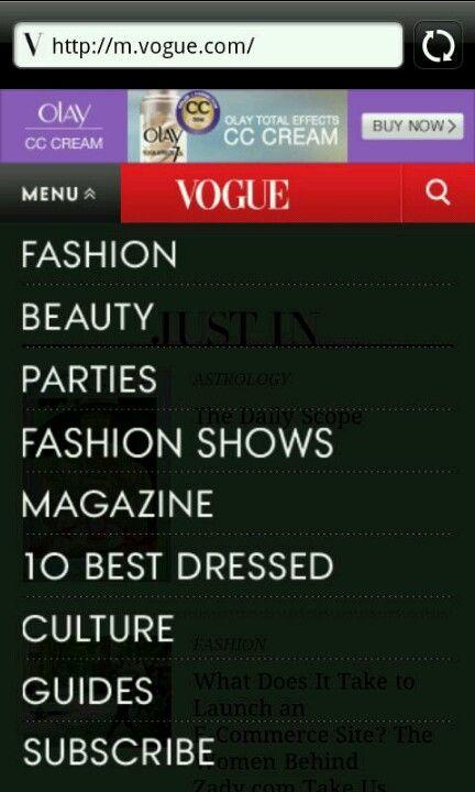 Menú Vogue mobile