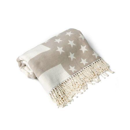 Lexington Flag Throw Beige White