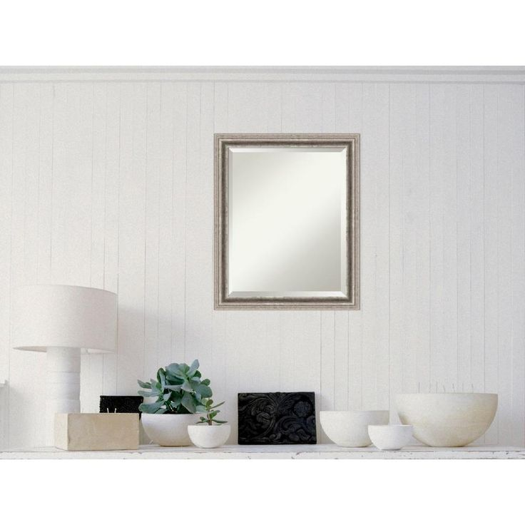 Bel Volto Silver Wood 31 in. W x 25 in. H Contemporary Framed Mirror