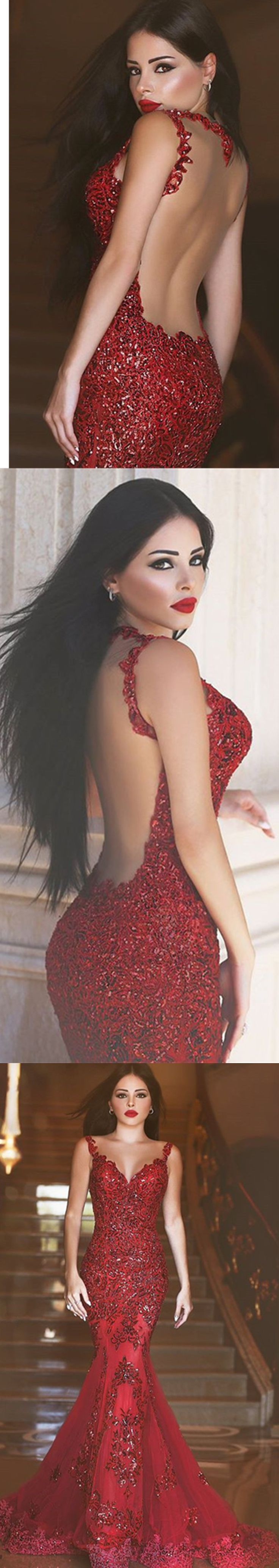 DIYouth Glamorous Red Mermaid Sequins Prom Dress 2016 Appliques Sweep Train, open back prom dresses, Mermaid wedding dresses, sexy evening dresses, backless party dresses