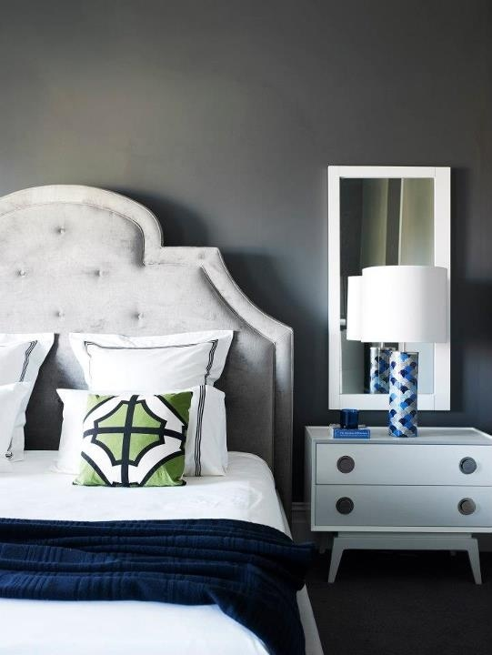 Bedroom with dark gray walls and navy green and white - Navy blue and grey bedroom ideas ...