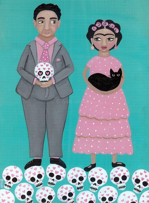 Frida and Diego Love Original Cat Folk Art by KilkennycatArt