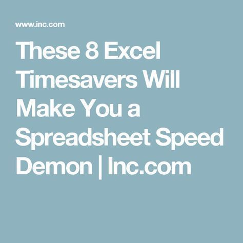These 8 Excel Timesavers Will Make You a Spreadsheet Speed Demon - Create A Spreadsheet In Excel