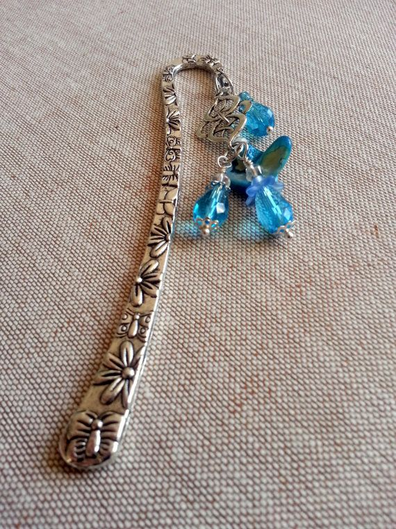 Blue Bookmark, Turquoise bookmark,Silver bookmark,Blue crystals bookmark,Blue book marks, Charm for books. Accessories for books,blue charms