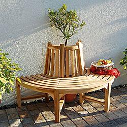 Teakholz-Baumbank Größe 1, halber Kreis - Baumbänke - Beckmann KG - Ihr Spezialist für Gewächshaus und Gartenartikel