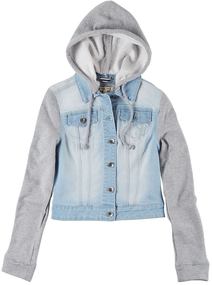 Soft Knit Sleeve Hooded Jean Jacket #hoodie #beallsflorida