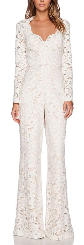 Gorgeous lace jumpsuit #wedding #bridal http://rstyle.me/n/wbd4an2bn