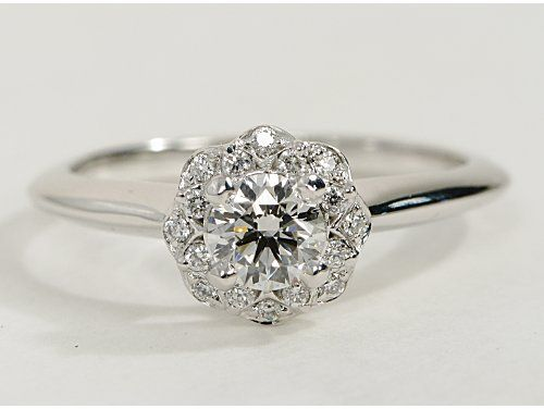 Floral Halo Engagement Ring In 14k White Gold Wedding