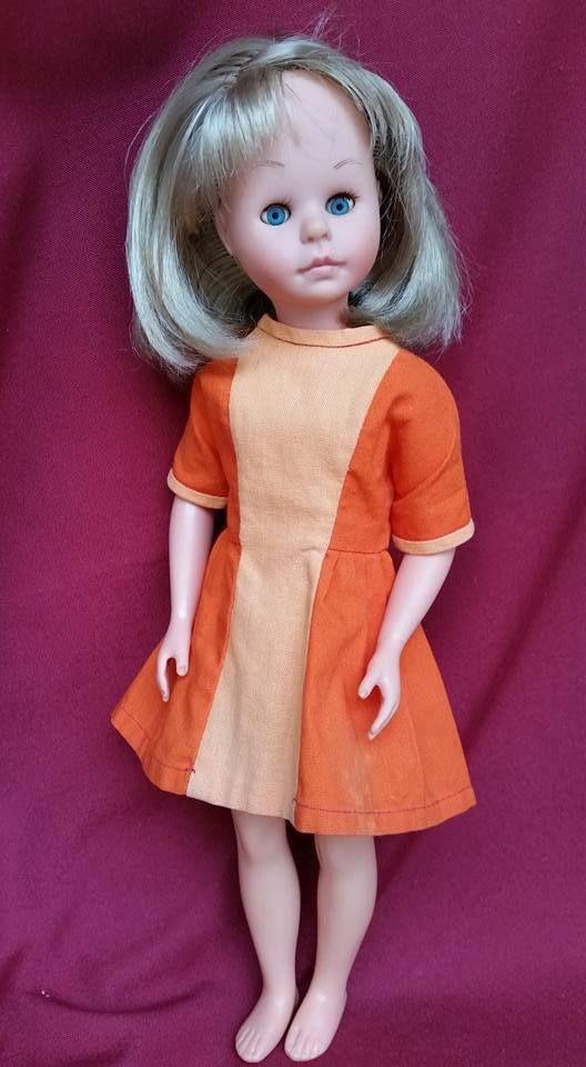 BAMBOLA JENNI ITALOCREMONA bionda 33 cm 1964 con abito arancione