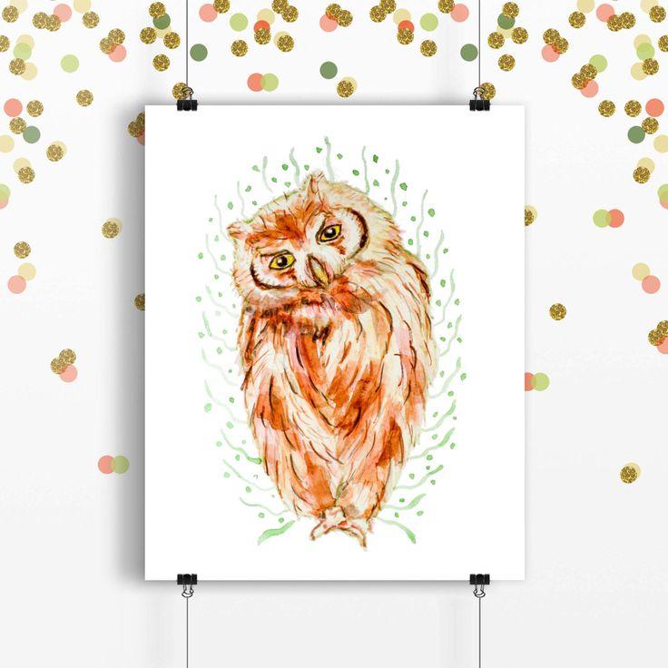 Owl print owl art children illustration animal print