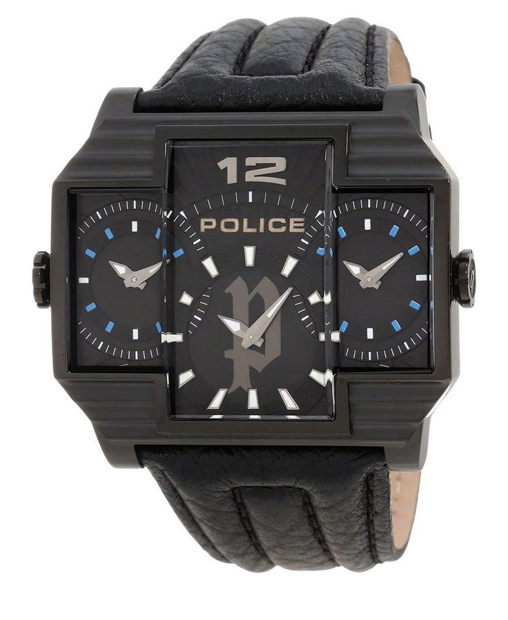 Orologio police - caratteristiche: tre quadranti - movimento: k62/132 & 608/1300 x 2pcs  - dimensioni della cassa: 51x49 - Orologio uomo hammerhead Nero
