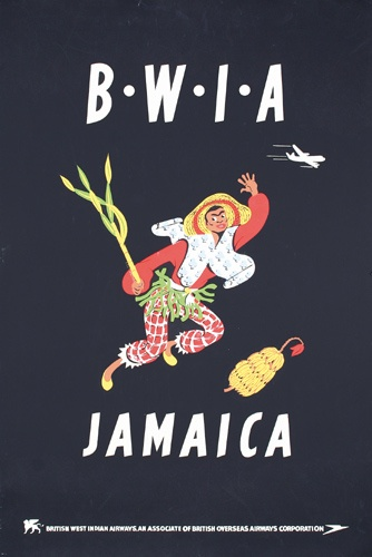 """Vintage Airline Poster Jamaica by British West Indies Air or """"BeeWee""""...now part of Caribbean Airlines"""