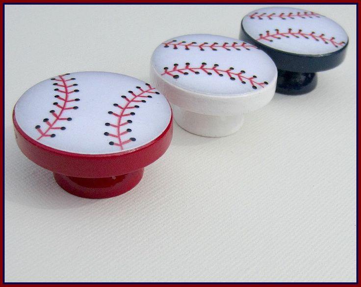 Baseball Knobs • Dresser Drawer Knobs • Drawer Pulls • Baseball Knobs • Sports Drawer Knobs by SweetPetitesBoutique on Etsy https://www.etsy.com/listing/159869683/baseball-knobs-dresser-drawer-knobs