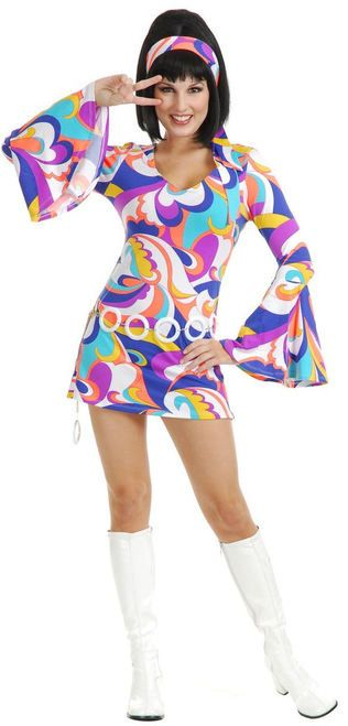 Ladies 70s Disco Hottie Costume - Psychedelic baby!! Boogie down in this fun 70s inspired Disco Hottie dress costume! The fun colours and bell sleeves will be a hit! Perfect for Halloween, themed parties or a 70s disco! #YYC #CAlgary #costume #70s #Disco #DiscoHottie