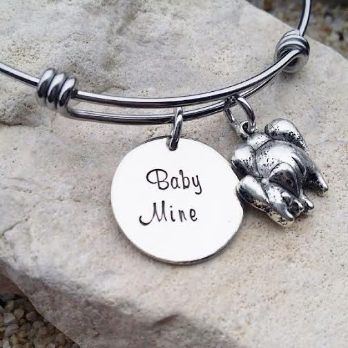 Bangle - Bracelet - Jewelry - Disney - Dumbo - Elephant - Gift - Disney Jewelry - Gift for Her - Baby Mine - Baby - Hand Stamped-
