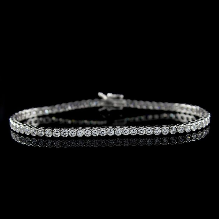 Diamond Tennis Bracelet 3.45ct D VS1 Sterling Silver Bezel Set + Black Diamond #AffynityFashionJewelry #Tennis