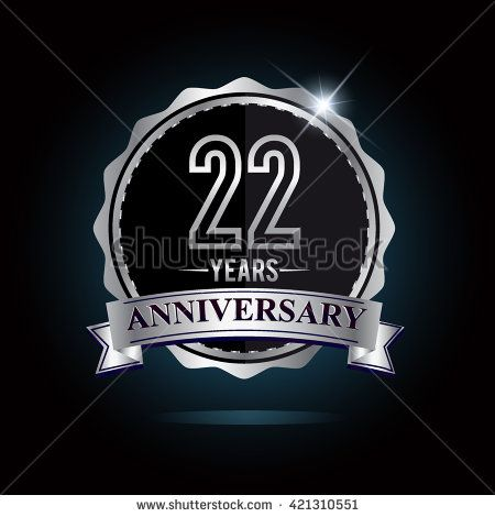 22nd anniversary logo with ribbon. 22 years anniversary signs illustration. Silver anniversary logo with ribbon. - stock vector