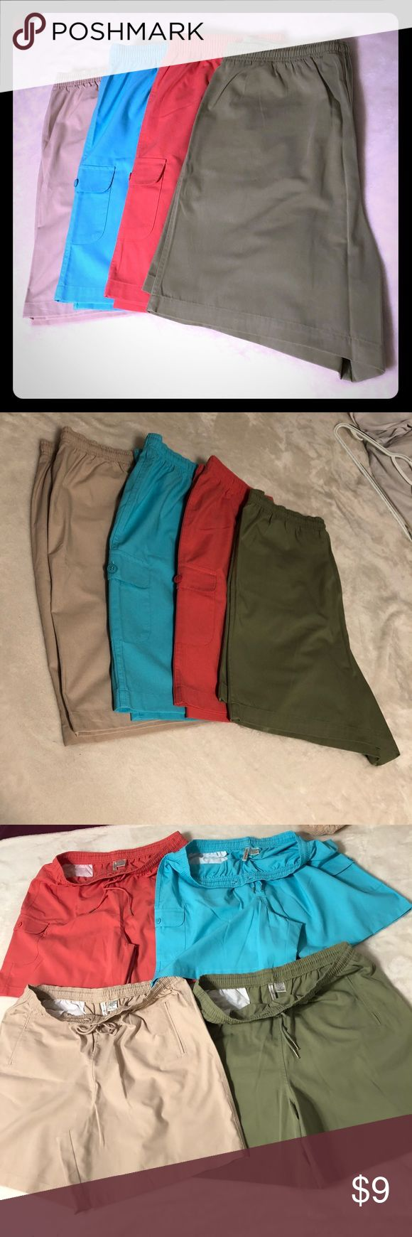 (BUNDLE x4) Shorts Excellent used condition bundle of 4 pairs of beige, coral, green and light blue women's shorts by Hastings & Smith. Size XL and fit true to size with an elastic waistband and drawstring. Perfect spring shorts to be worn with neutral sandals! Length: 19 inches  Accepting offers💕 Hastings & Smith Shorts Cargos