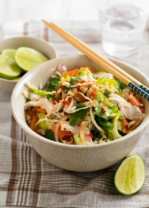 Low FODMAP Recipe and Gluten Free Recipe - Thai chicken & noodle salad http://www.ibs-health.com/low_fodmap_thai_chicken_noodle_salad.html