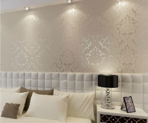 Damasco High End 10M Luxo los Relevo Papel de Parede Rolls Ouro Prata Branco | eBay BEIGE