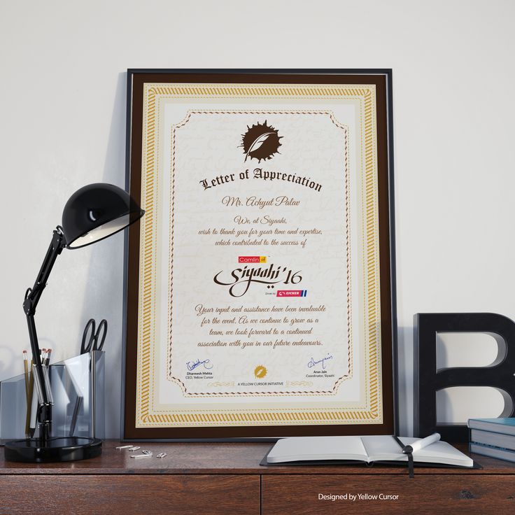 A3 Letter of Appreciation for Handwriting and Calligraphy Experts for their time and expertise.