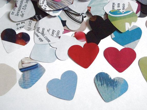 heart die cut confetti magazine paper wedding recycled upcycled baby shower party favor garland balloons halloween decor lasoffittadiste
