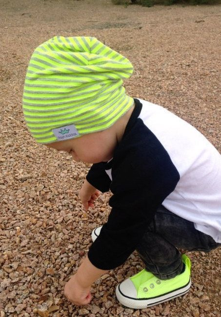 Baby slouchy beanie/ Toddler boy slouch beanie/ Neon stripe hipster beanie/ Slouchy knit hat/ slouchy infant beanie