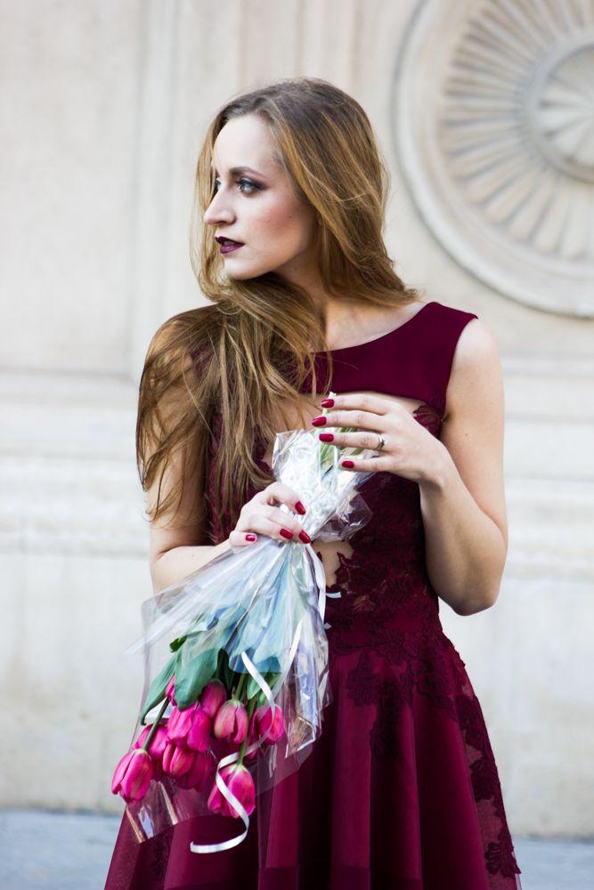 Marsala dress spring tulips fashion