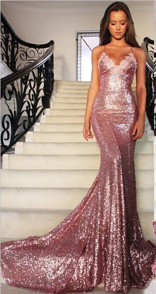 Gorgeous Mermaid Long Rose Pink Prom Dresses Sequins Spaghetti Strap Evening Gowns