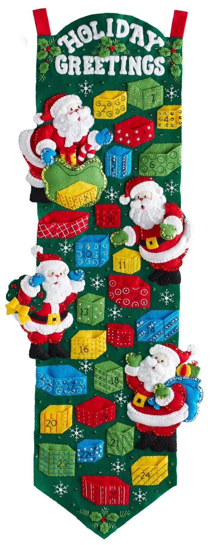 Saludos de vacaciones Bucilla Adviento Kit Calendario de Santa