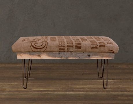 This Atlas Burlap bench (above) was created from discarded, old coffee bean sacks from South American exporters (hence the sack's Spanish graphics) and rustic upcycled wood. $290.00