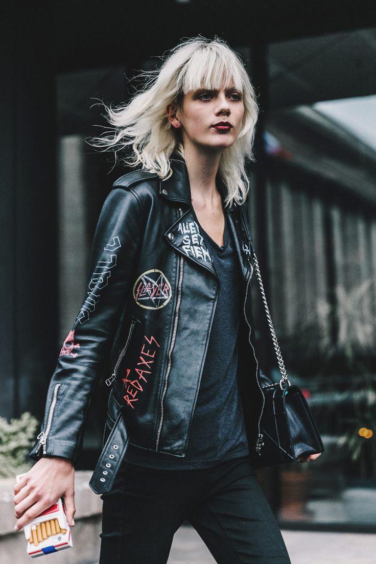 Street Style Alta Costura/ París, julio de 2016 leather jacket