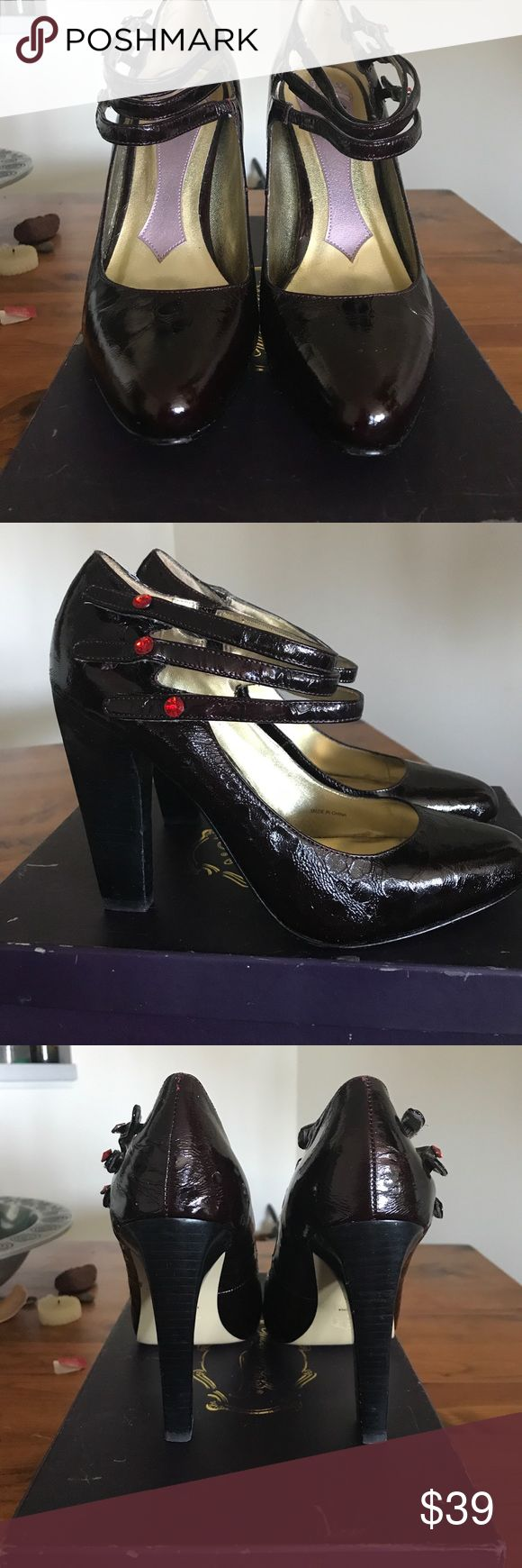 Hale Bob patent leather shoes size 9 A classic heel with a twist. The red studs on the three straps make this shoe a unique classic in a dark reddish color! The high heel adds just enough flair to make this shoe appropriate for day and night! Excellent condition! Hale Bob Shoes Heels
