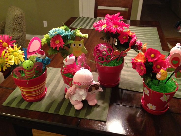 Baby shower centerpiece ideas flower pot washcloths