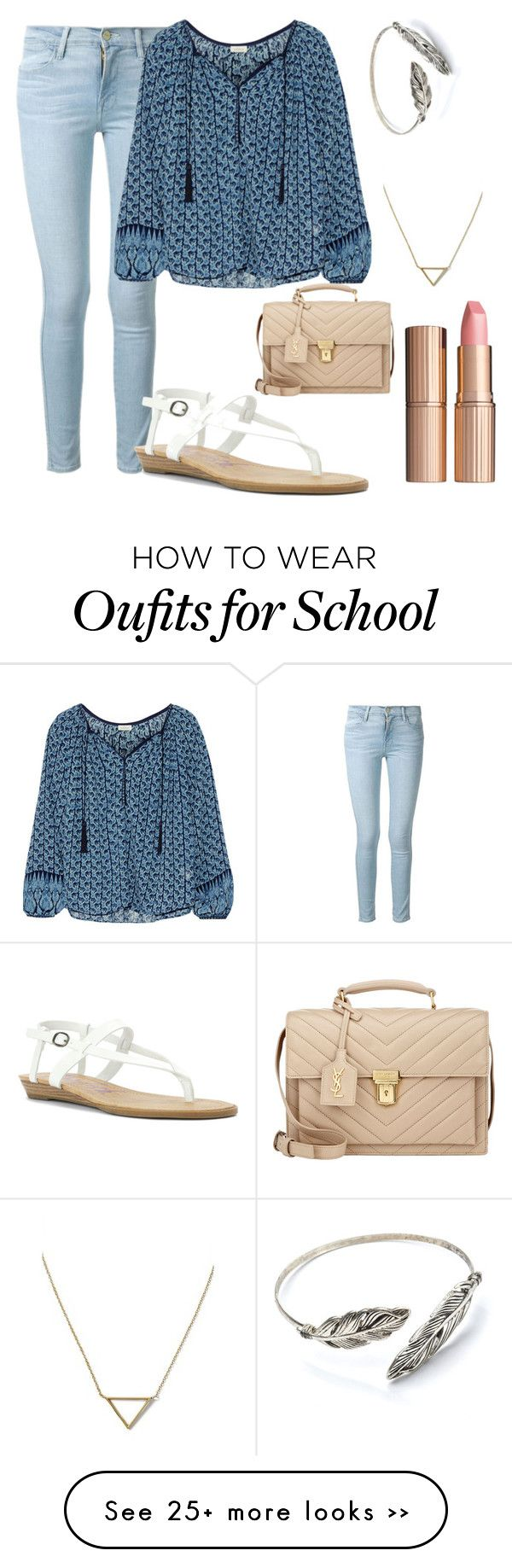 """First day of school!!!!"" by emilystoneman on Polyvore featuring Frame Denim, Talitha, Blowfish, Yves Saint Laurent, Banana Republic and Charlotte Tilbury"