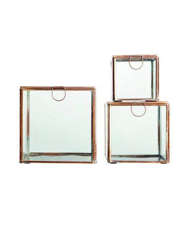 Opbergboxjes Koper 3x - Glas. #bathroom #bathroomstyling #stockhome #Stockhomeshop