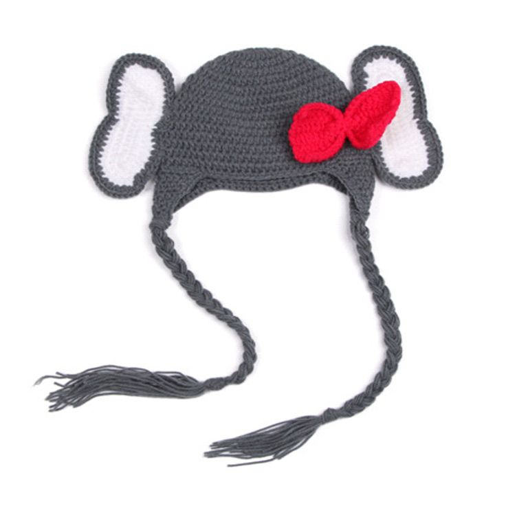 Hand Cap Knit Baby Hat 100 Days Full Moon Newborn Kids Elephant Cartoon Animals Modeling Beanies 0-3month Handmade Photography