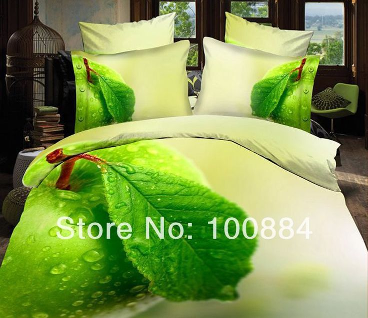 Мятно-зеленый постельные принадлежности, 4 шт. наборы постельных принадлежностей без наполнителя, зеленое яблоко свежее постельное белье наборы, зеленого яблока покрывала королева размер