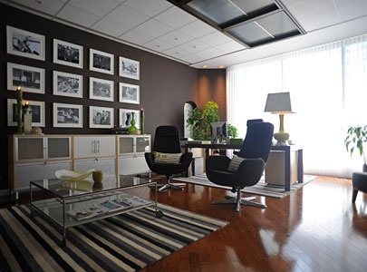 office with ikea rug