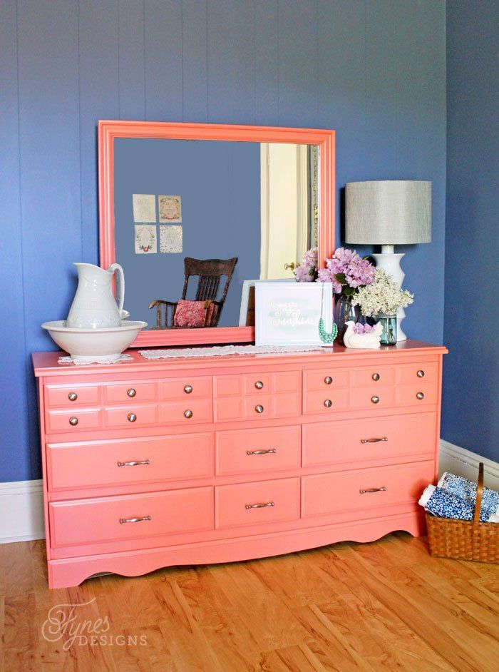 coral furniture. coral painted dresser makeover furniture