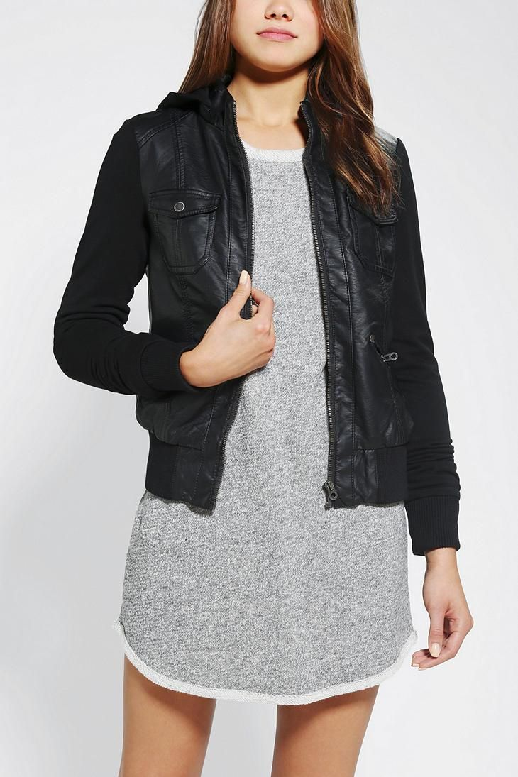 Leather jacket urban outfitters - Members Only Hooded Vegan Leather Bomber Jacket Urbanoutfitters