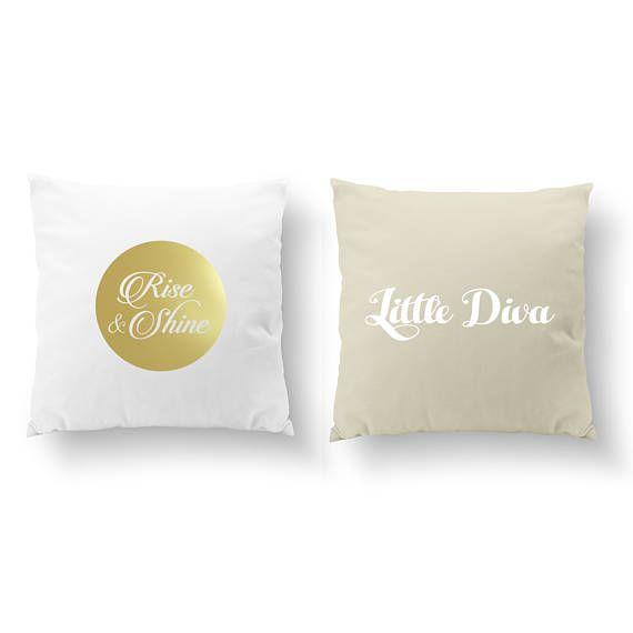 SET of 2 Pillows Rise and Shine Pillow Little Diva Pillow