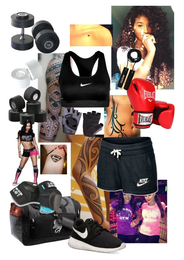 Working out with AJ Lee and the Bella Twins by legoinofboom on Polyvore featuring NIKE, Everlast, Flexfit, Jessica Simpson and plus size clothing