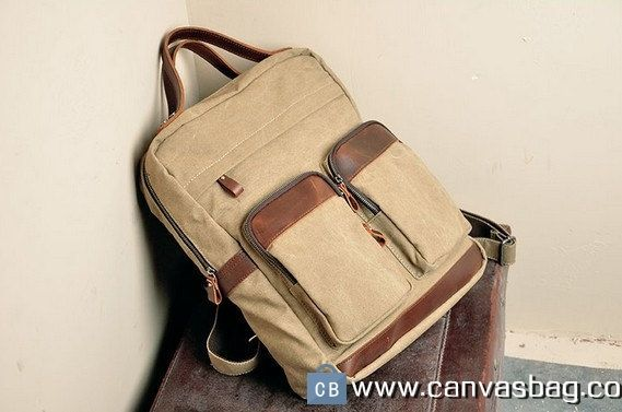 16 Backpack Genuine Cow Leather Men 8217 S Bag Canvas