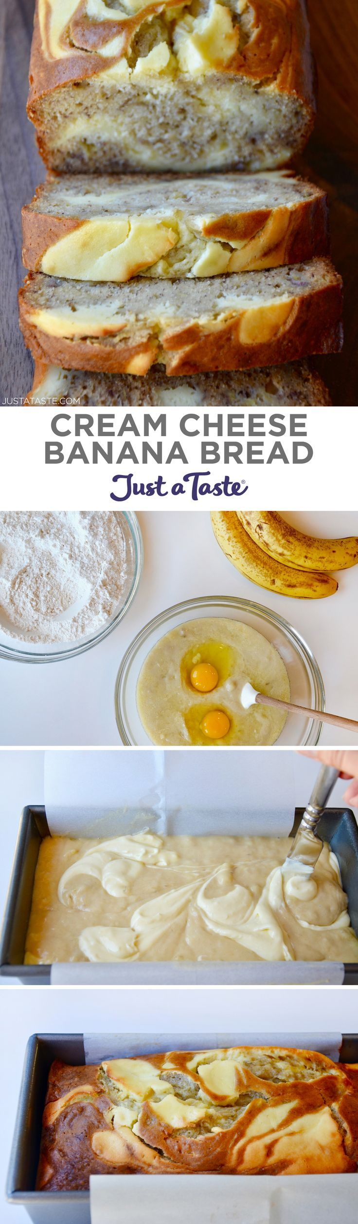Cream Cheese Banana Bread recipe from justataste.com #recipe #banana