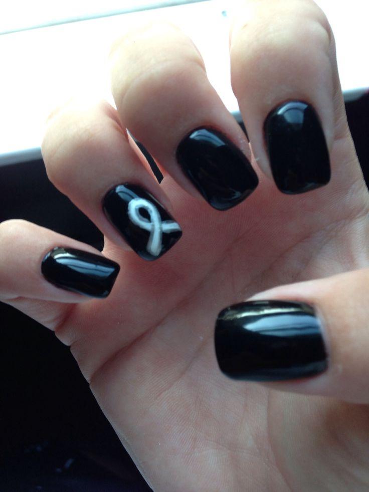 Lung cancer awareness nails :)