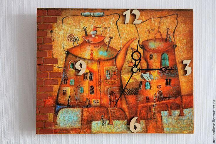 Купить Часы настенные О Любви - рыжий, желтый, разноцветный, часы настенные, часы для дома