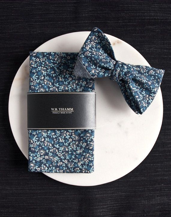 Ian Men's Pocket Square Handkerchief Floral blue white by WBTHAMM