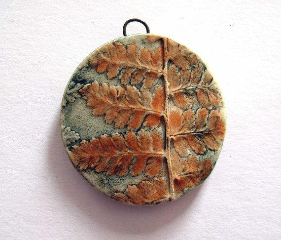 Handmade Ceramic Fern Image Pendant by Mary Harding