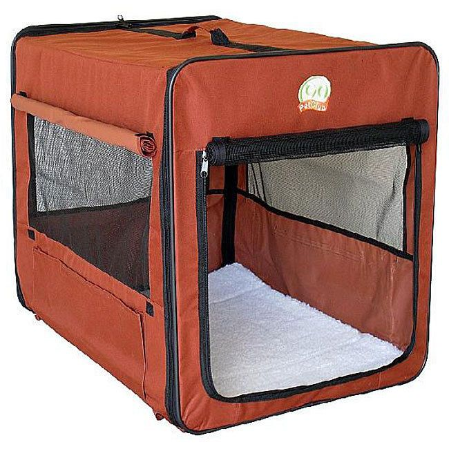 Portable Nylon Folding Soft Dog Crate with Mesh Door Brown 43-inch Pet Cage